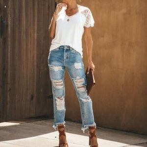 Vici ivory lace tee